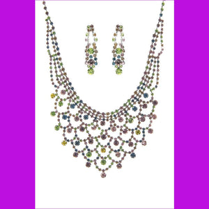 Fashion Design Rhinestone Necklace And Earring Set