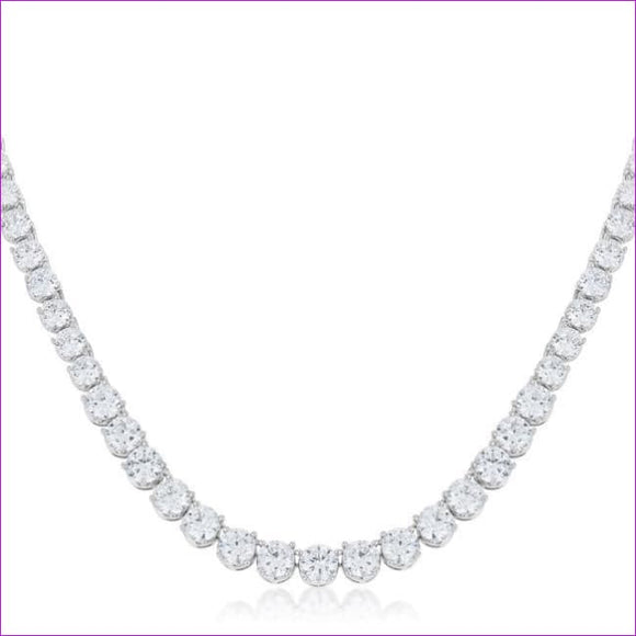 Graduated Cubic Zirconia Necklace - Necklaces