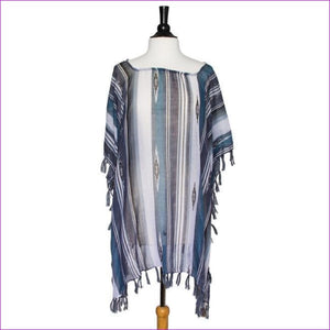 Grey Janna Striped Lightweight Poncho - Scarves