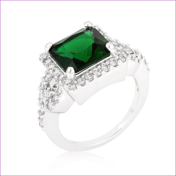 Halo Style Princess Cut Emerald Green Cocktail Ring - Rings