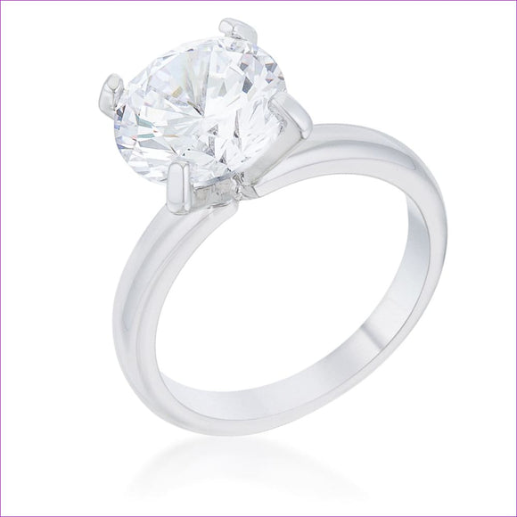 Hanna 4.4ct CZ Rhodium Classic Solitaire Ring - Rings