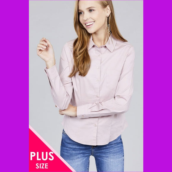 Ladies fashion plus size long sleeve button down stretch