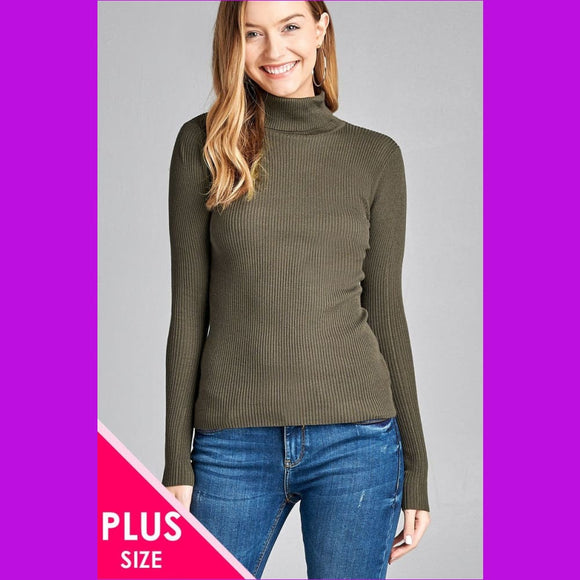 Ladies fashion plus size long sleeve turtle neck fitted rib