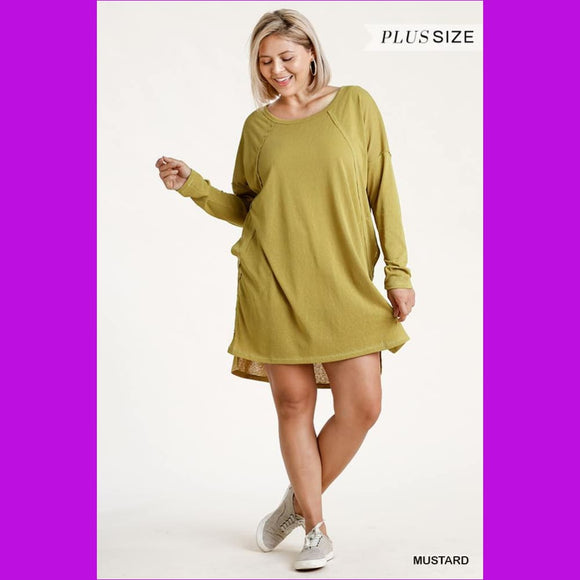Long Raglan Sleeve Round Neck Raw Edged Detail Dress With