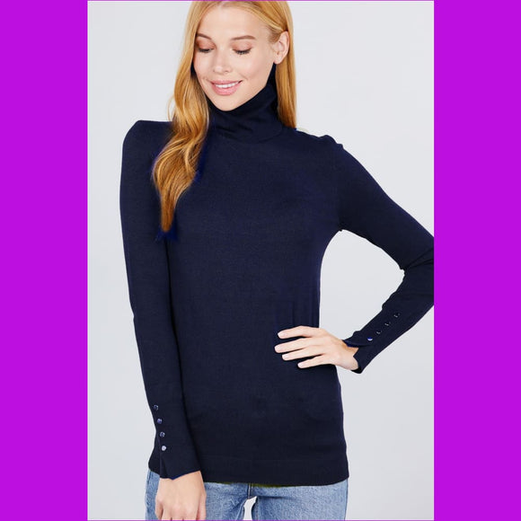 Long Sleeve With Metal Button Detail Turtle Neck Viscose