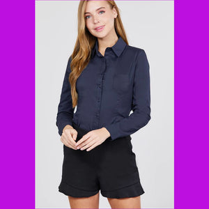 Long Sleeve Princess Line One Side Pocket Button Down Woven