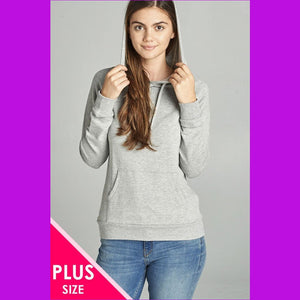 Long Sleeve Pullover French Terry Hoodie Top W/ Kangaroo
