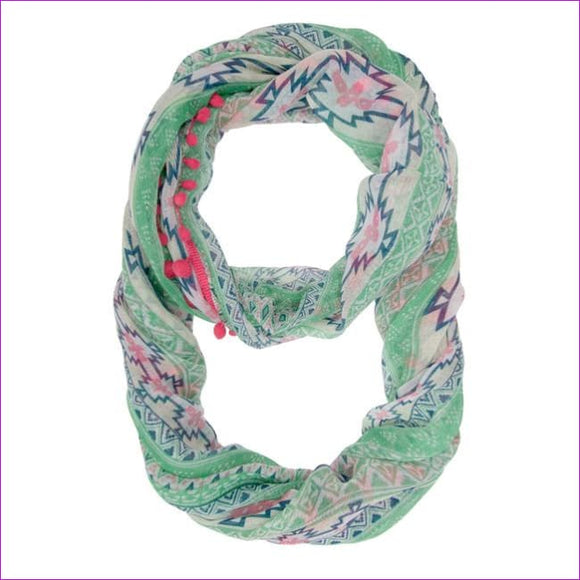 Mara Pink Cultural Print Infinity Scarf With Pom Poms -