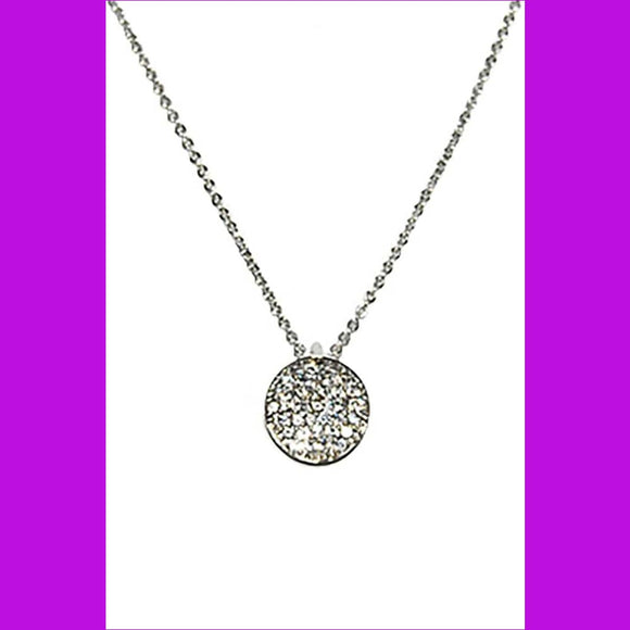 Metal Chain Rhinestone Round Pendant Necklace - Silver