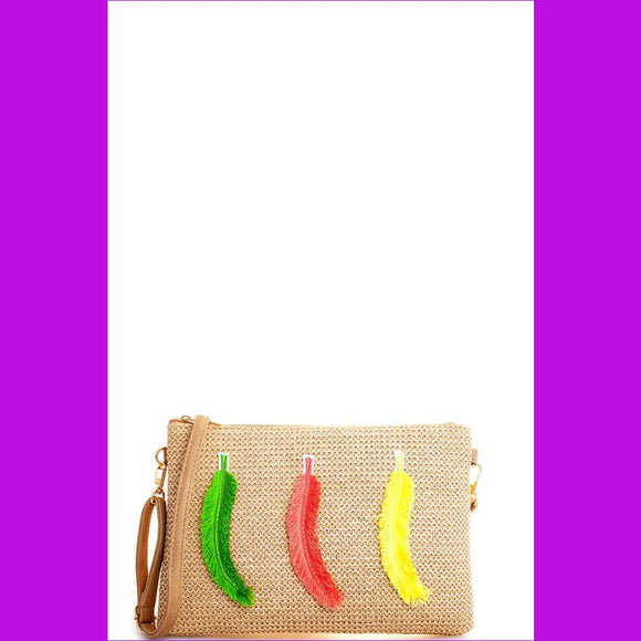 Modern Fashion Woven Feather Clutch With Long Strap - Multi