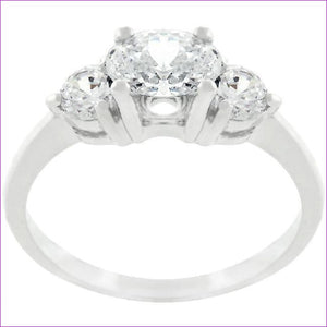 Oval Serenade Triplet Ring in Silvertone Finish - Rings