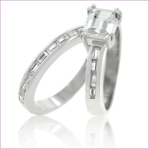 Princess Baguette Wedding Set - Rings