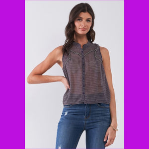Purple & Multi Sleeveless Mock Neck Front Button Down Sheer