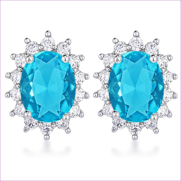 Rhodium Plated Aqua Blue Petite Royal Oval Earrings