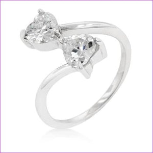 Rhodium Plated Finish Dual Hearts Anniversary Ring - Rings