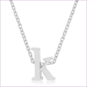 Rhodium Plated Finish Initial K Pendant - Pendants