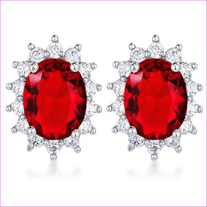 Rhodium Plated Ruby Red Petite Royal Oval Earrings