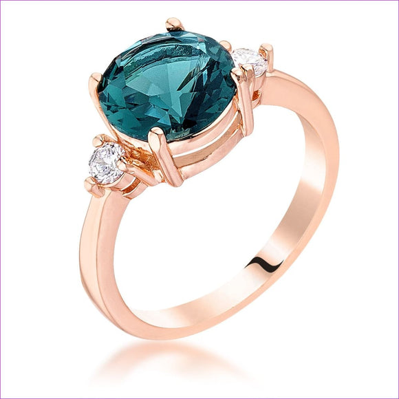 Rose Gold Plated Blue Green Three Stone Engagement Ring -