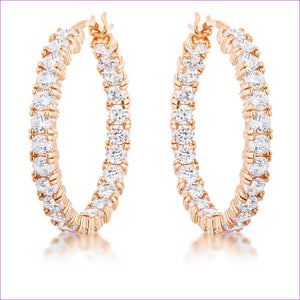 Rose Gold Plated CZ Hoop Earrings