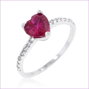 Ruby Red Heart Ring - Rings