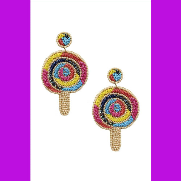 Seed Bead Ice Cream Dangle Earring - Multi