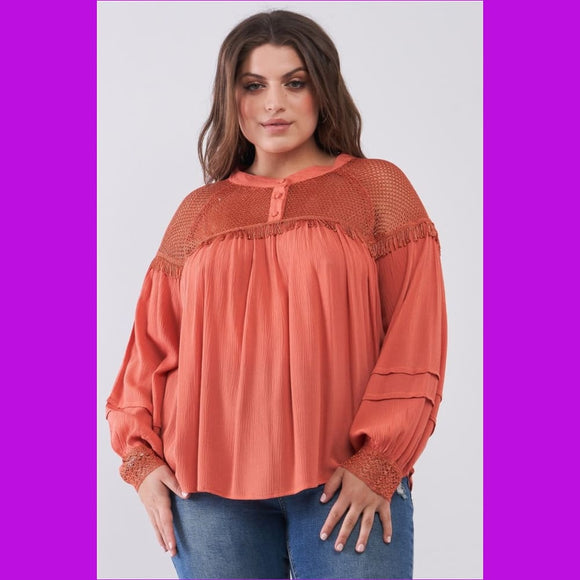 Plus Size Boho Sheer Net Mesh Balloon Sleeve Detail Relaxed