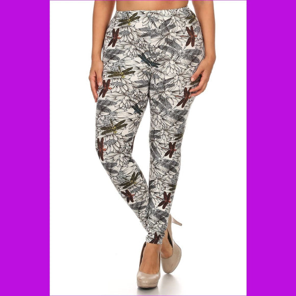 Plus Size Dragonfly Print Full Length Leggings In A Fitted