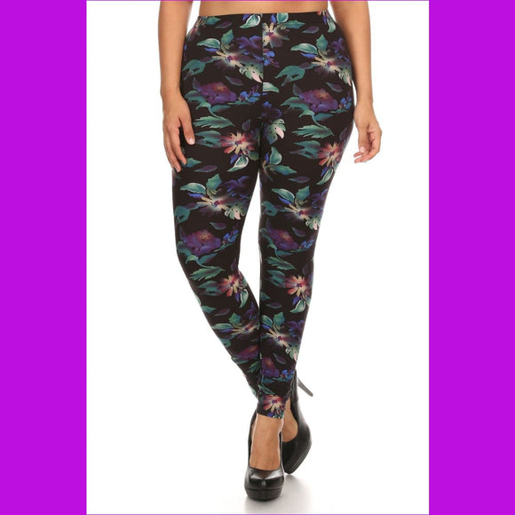 Plus Size Print Full Length Leggings In A Slim Fitting Style