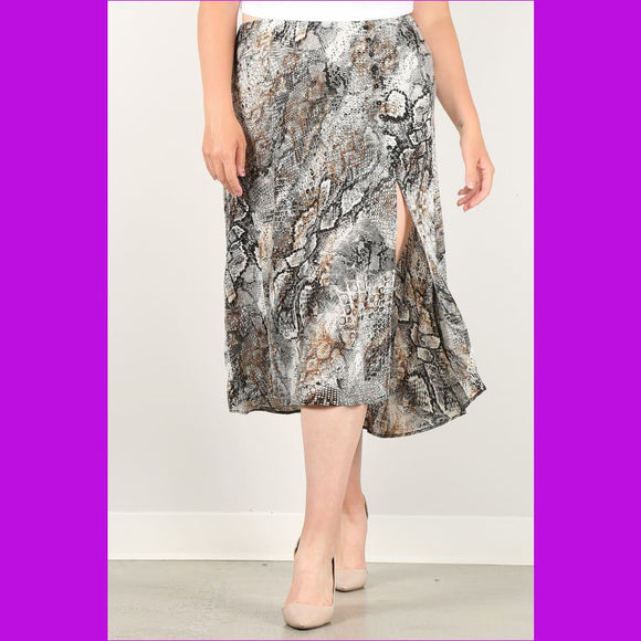 Snakeskin Print Skirt With High Waist Button Trim And Side