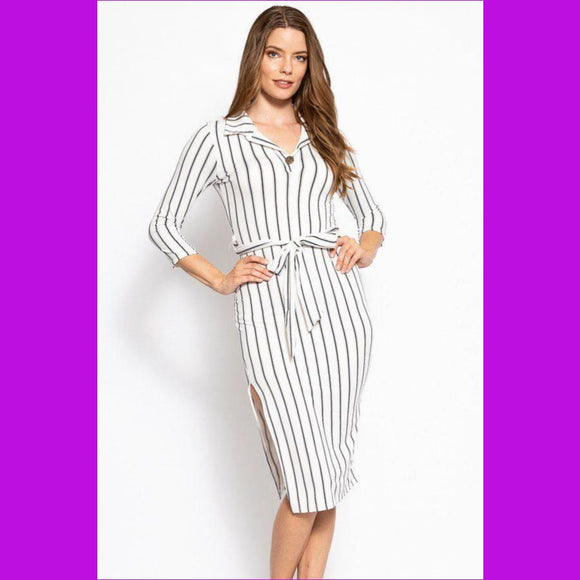Stripes Print Midi Tee Dress With 3/4 Sleeves Collared V