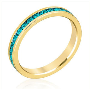 Stylish Stackables Turquoise Crystal Gold Ring - Rings