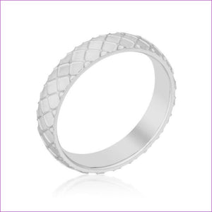 Textured Stainless Steel Band Ring - Rings