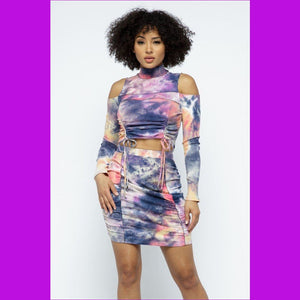Tie Dye Open Shoulder Long Sleeve Top And Matching Skirt W