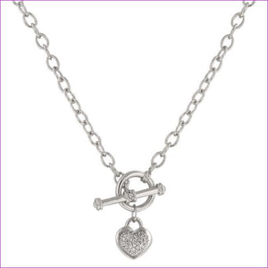 Toggle Pave Heart Necklace - Necklaces