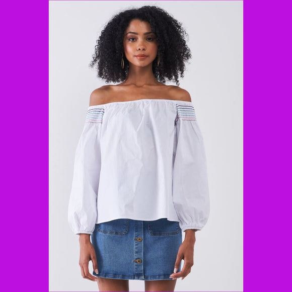 White Multi Shoulder Stitches Off-the-shoulder Long Balloon