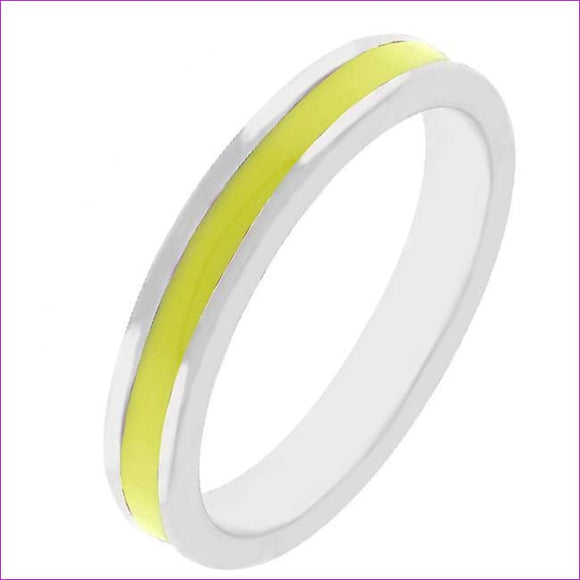 Yellow Enamel Eternity Ring - Rings