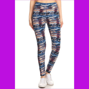 Yoga Style Banded Lined Tie Dye Printed Knit Legging With