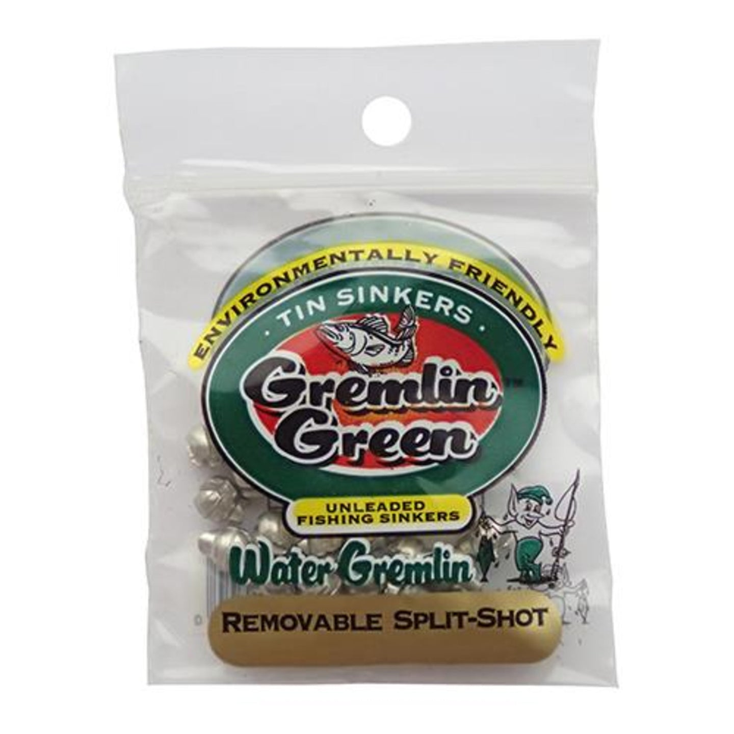 Water Gremlin Green Removable Tin Split Shot