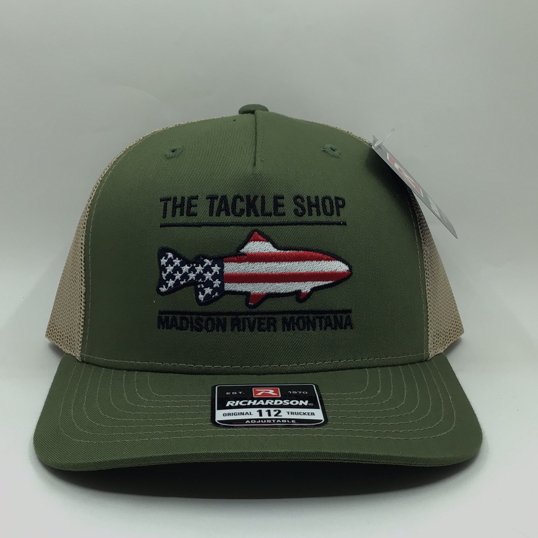 Trout Flag Logo Hat Olive with Tan Mesh