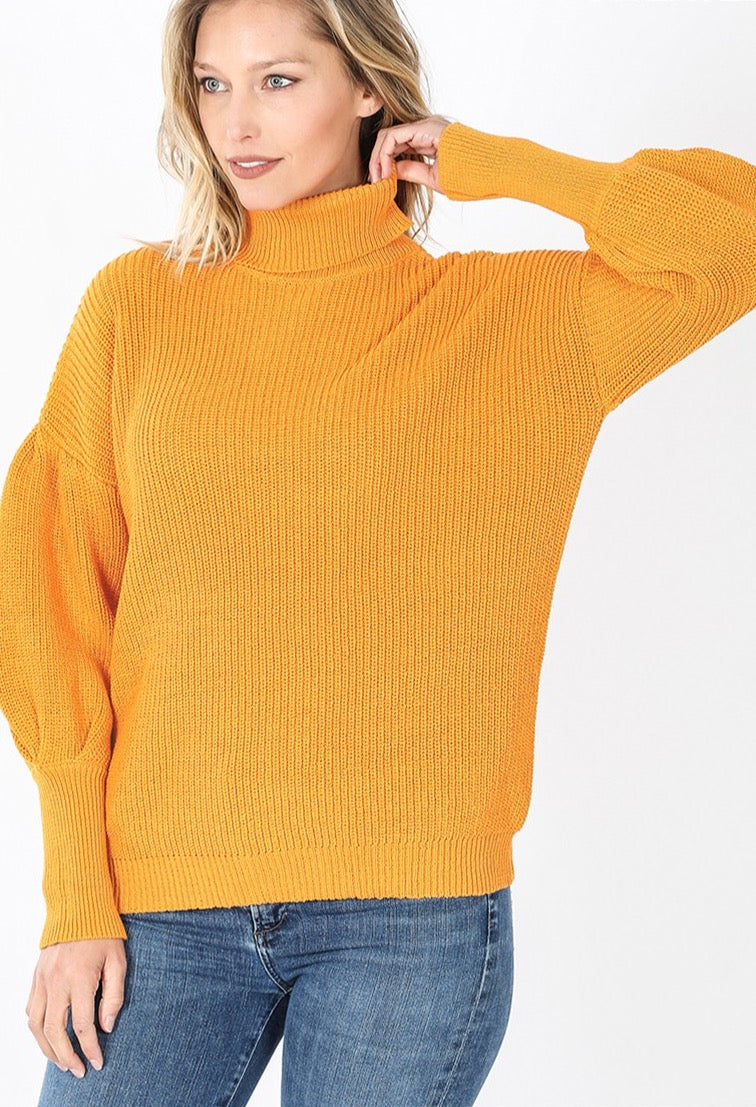 ''Mindy'' - Turtleneck Puff-Sleeve Sweater