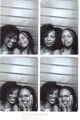 Mother and daughter in Barcelona, Soho House photo booth.
