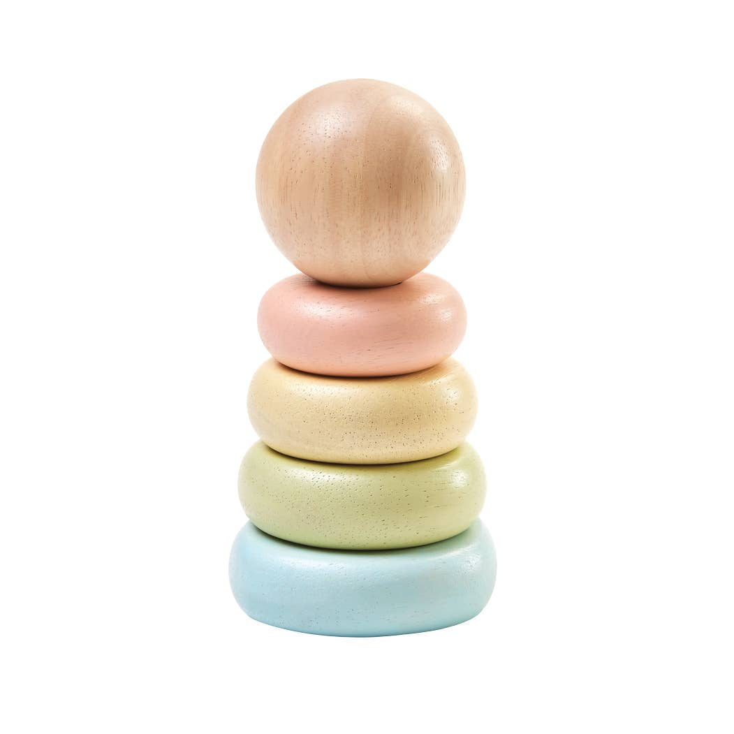 Small Wooden Ring Stacker Pastel