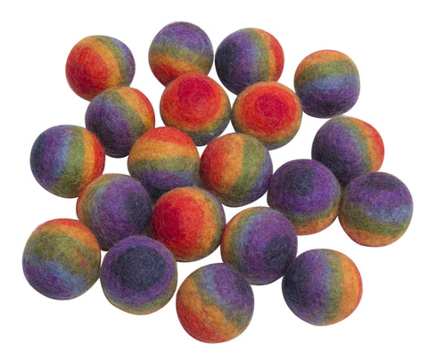 Small Rainbow Felt Balls by Papooose Set of 20