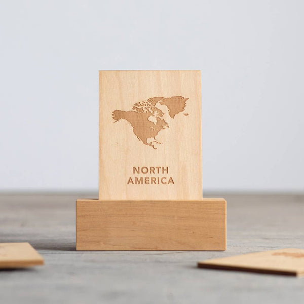 Gladfolk Wooden Continent Flashcards & Stand