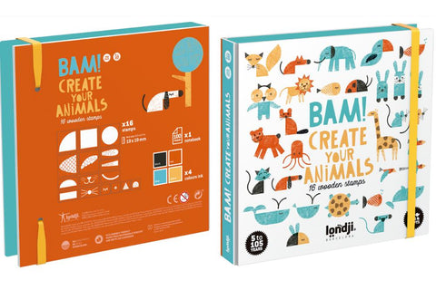 Londji Bam! Animals! Wooden Stamp Set 16