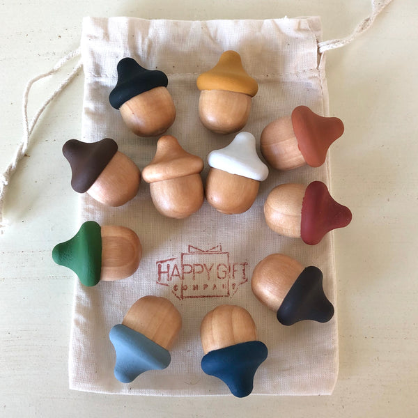 handpainted wooden acorns