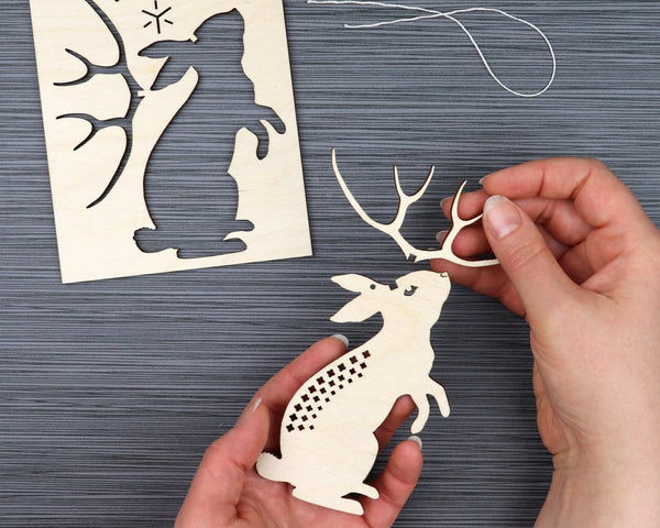 Jackalope DIY Wooden Ornament Kit
