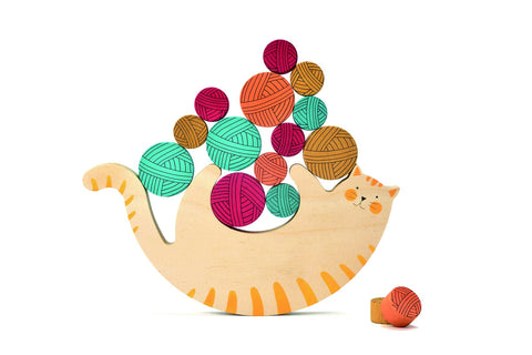 Londji Meow Balancing Game (1 Cat and 15 Yarn Balls)