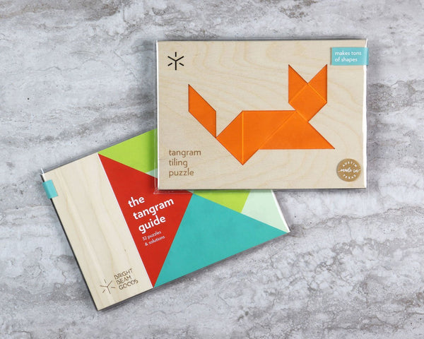 Cat Tangram Puzzle in Wooden Tray