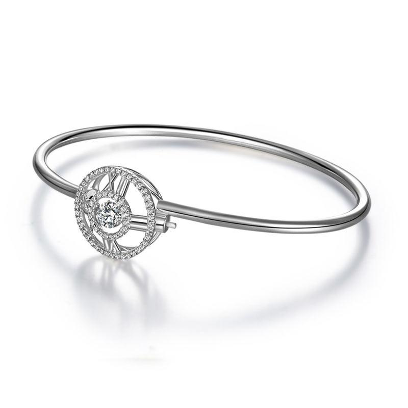 Roman Number Dancing Stone Bangle Solid 925 Sterling Silver for Women